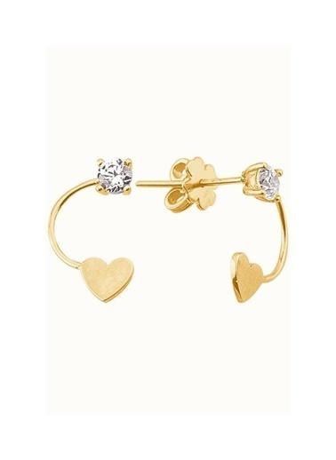Piano Jewellery Cabaret Kalp Altın Küpe 14 Ayar Altın